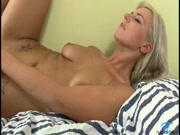 Beautifl blonde Oprah fingering her tight shaved snatch